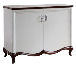 Casa Padrino Luxury Art Deco Cabinet with 2 Doors White / Dark Brown 114 x 46.5 x H. 90.2 cm - Luxury Furniture