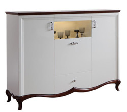 Casa Padrino Luxury Art Deco Bar Cabinet White / Dark Brown 164.2 x 46.5 x H. 123 cm - Illuminated Living Room Cabinet with 3 Doors and Drawer