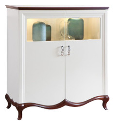 Casa Padrino Luxury Art Deco Bar Cabinet White / Dark Brown 114 x 46.5 x H. 123 cm - Illuminated Living Room Cabinet with 2 Doors