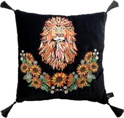 Casa Padrino luxury decorative pillow with tassels Lion Black / Black 45 x 45 cm - finest velvet fabric - luxury quality