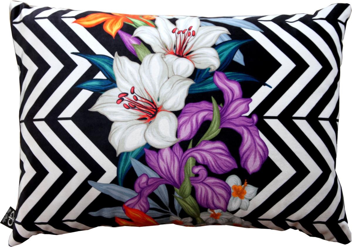 Casa Padrino Oreiller de salon Georgia Flowers noir / blanc / multicolore  Lily 35 x 55 cm - tissu velours de qualité supérieure - accessoires de ...