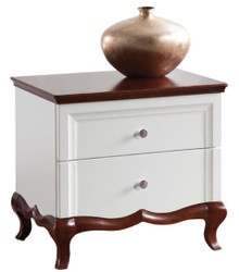 Casa Padrino Luxury Art Deco Bedside Table with 2 Drawers White / Dark Brown 64 x 46.5 x H. 59 cm - Bedroom Furniture