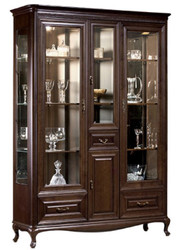 Casa Padrino Luxury Art Nouveau Display Cabinet Dark Brown 149.5 x 46.1 x H. 206.6 cm - Illuminated Living Room Cabinet with 4 Doors and 4 Drawers - Living Room Furniture