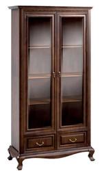 Casa Padrino Luxus Jugendstil Vitrinenschrank Dunkelbraun 116,8 x 46,1 x H. 206,6 cm - Wohnzimmerschrank mit 2 Glastüren und 2 Schubladen - Wohnzimmermöbel
