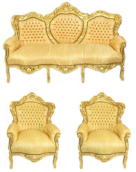 Casa Padrino Baroque Living Room Set Gold Pattern / Gold - 3 seater sofa + 2 armchairs