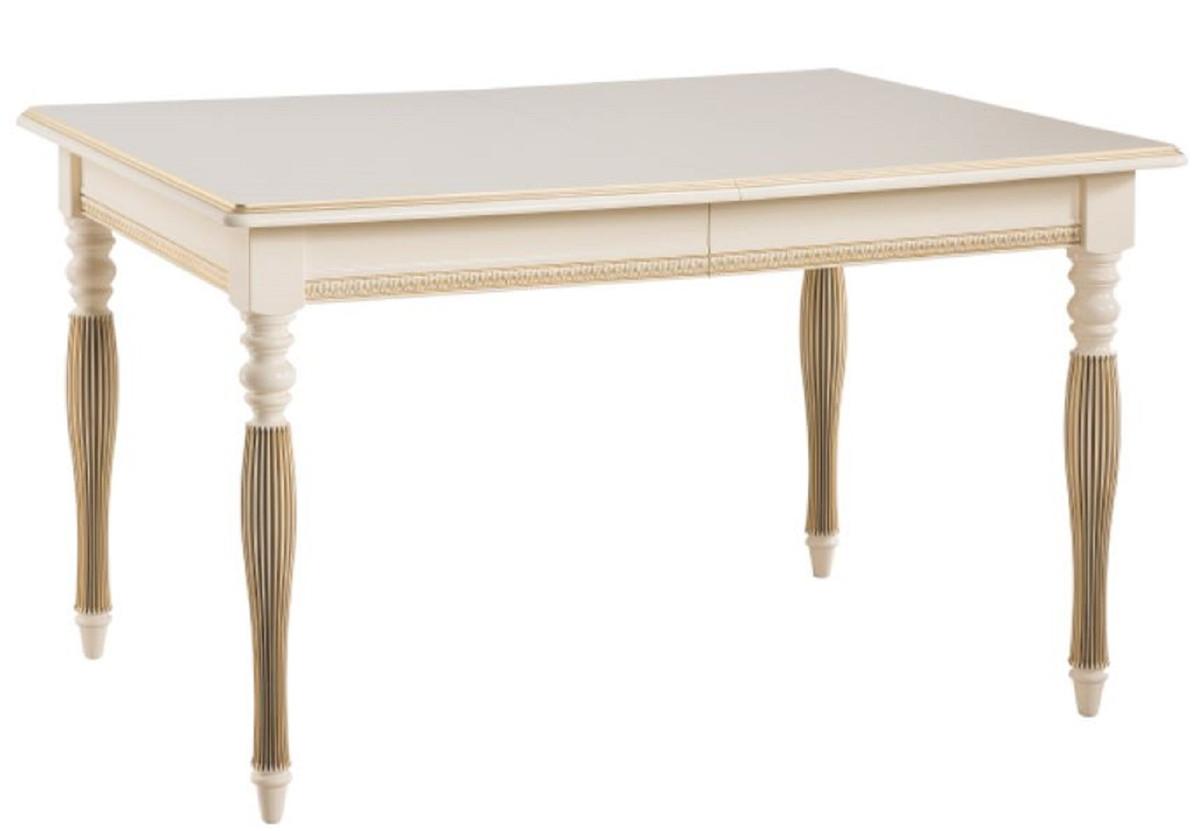 Casa Padrino Luxus Barock Esszimmer Set Creme / Gold / Orange - Ausziehbarer Küchentisch mit 4 Esszimmerstühlen - Esszimmermöbel im Barockstil 2