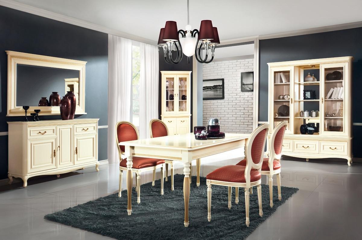 Casa Padrino Luxus Barock Esszimmer Set Creme / Gold / Orange - Ausziehbarer Küchentisch mit 4 Esszimmerstühlen - Esszimmermöbel im Barockstil 4
