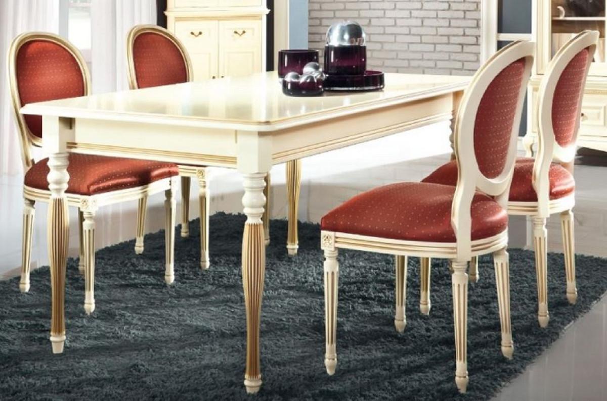Casa Padrino Ensemble de Salle à Manger Baroque de Luxe Crème / Or / Orange  - Table de Salle à Manger Extensible avec 6 Chaises de Salle à Manger - ...