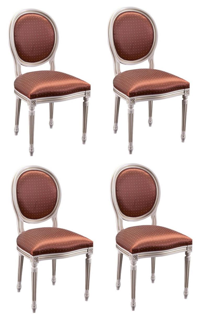 Casa Padrino Luxus Barock Esszimmer Set Creme / Gold / Orange 49 x 43,5 x H. 98 cm - 4 Esszimmerstühle - Esszimmermöbel 1
