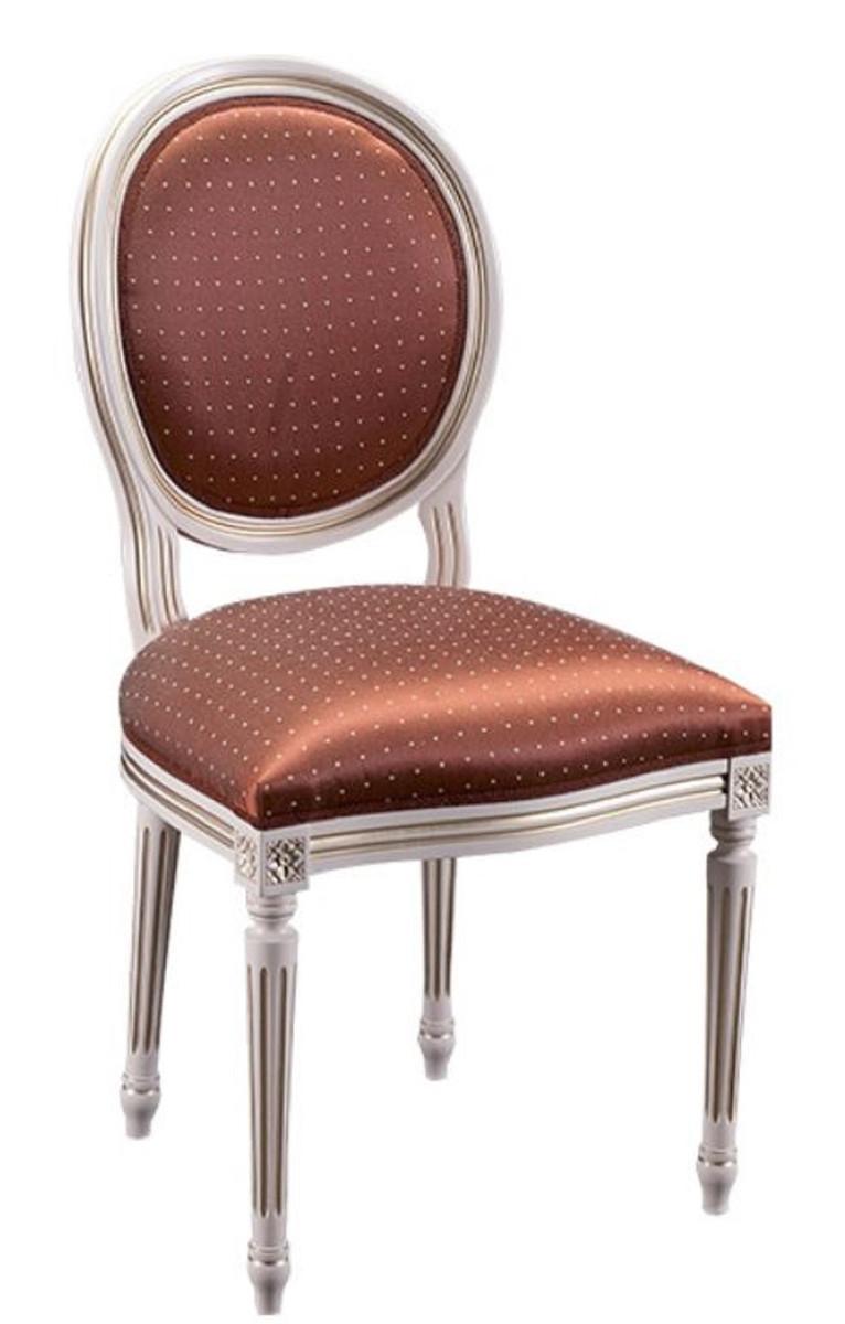 Casa Padrino Luxus Barock Esszimmer Set Creme / Gold / Orange 49 x 43,5 x H. 98 cm - 4 Esszimmerstühle - Esszimmermöbel 2