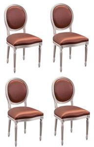 Casa Padrino Luxus Barock Esszimmer Set Creme / Gold / Orange 49 x 43,5 x H. 98 cm - 4 Esszimmerstühle - Esszimmermöbel