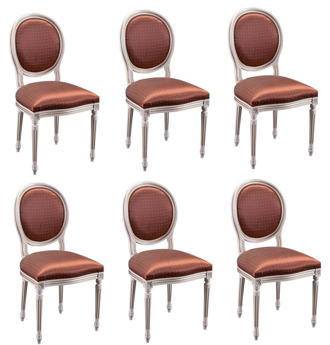 Casa Padrino Luxus Barock Esszimmer Set Creme / Gold / Orange 49 x 43,5 x H. 98 cm - 6 Esszimmerstühle - Esszimmermöbel 1
