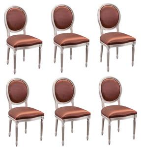 Casa Padrino Luxus Barock Esszimmer Set Creme / Gold / Orange 49 x 43,5 x H. 98 cm - 6 Esszimmerstühle - Esszimmermöbel