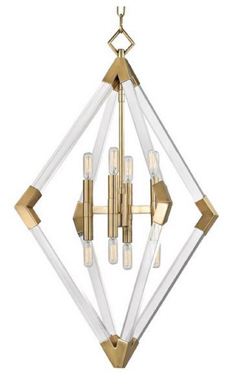 Casa Padrino Luxus Hängeleuchte Antik Messingfarben 59,7 x 59,7 x H. 83,8 cm - Pendelleuchte mit Acryl-Diamantrahmen und Metallakzenten 1