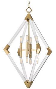 Casa Padrino Luxus Hängeleuchte Antik Messingfarben 59,7 x 59,7 x H. 83,8 cm - Pendelleuchte mit Acryl-Diamantrahmen und Metallakzenten