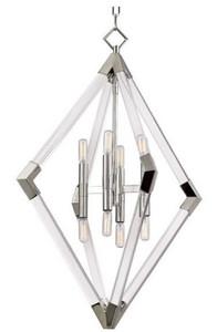 Casa Padrino Luxus Hängeleuchte Silber 59,7 x 59,7 x H. 83,8 cm - Pendelleuchte mit Acryl-Diamantrahmen und Metallakzenten