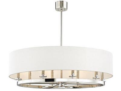 Casa Padrino Luxus Hängeleuchte Silber / Cremefarben Ø 51,4 x H. 29,9 cm - Runde Metall Hängelampe mit Leinenstoff