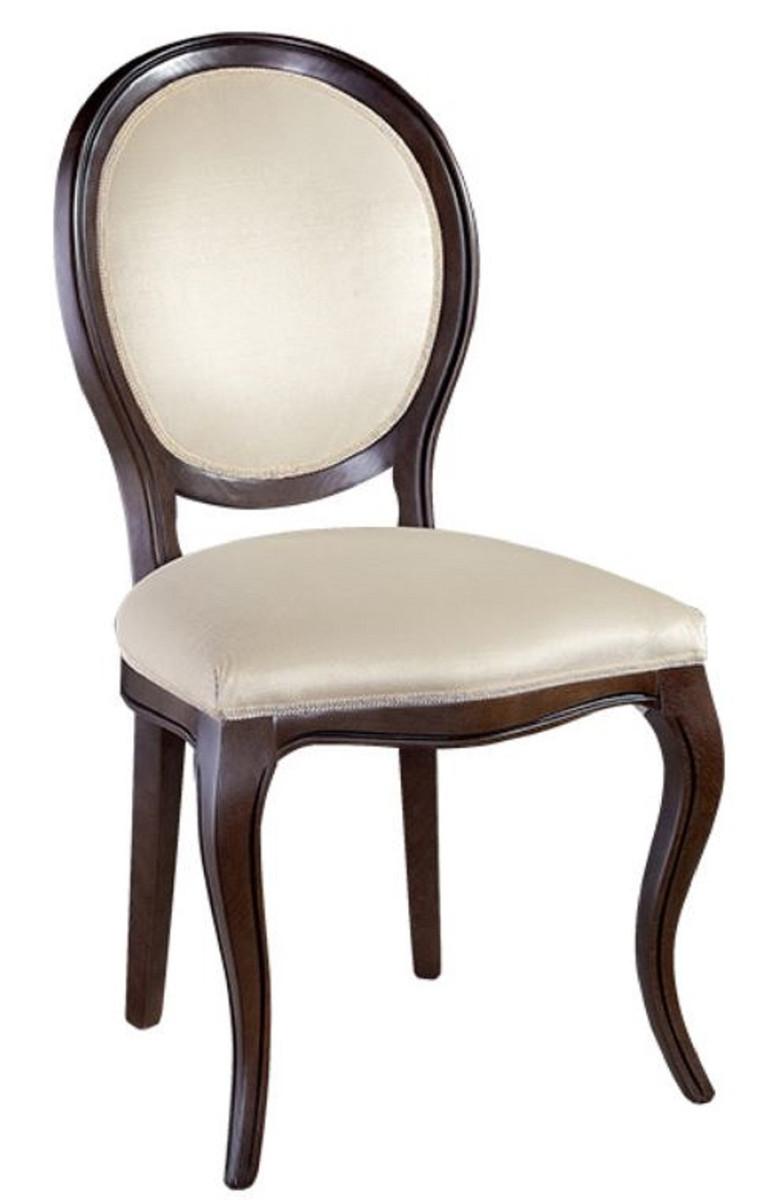 Casa Padrino Luxus Jugendstil Esszimmer Set Dunkelbraun / Cremefarben 51 x 44 x H. 99 cm - 4 Esszimmerstühle - Esszimmermöbel 2