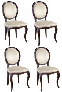 Casa Padrino Luxus Jugendstil Esszimmer Set Dunkelbraun / Cremefarben 51 x 44 x H. 99 cm - 4 Esszimmerstühle - Esszimmermöbel