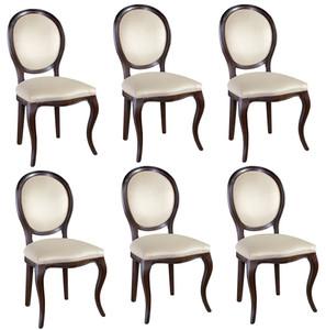 Casa Padrino Set di Sala da Pranzo Art Nouveau di Lusso Marrone Scuro /  Crema 51 x 44 x H. 99 cm - 6 Sedie da Pranzo - Mobili da Sala da Pranzo