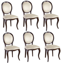 Casa Padrino Luxus Jugendstil Esszimmer Set Dunkelbraun / Cremefarben 51 x 44 x H. 99 cm - 6 Esszimmerstühle - Esszimmermöbel