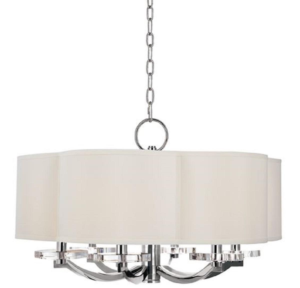 Casa Padrino Luxus Kronleuchter in Kleeblatt Form Silber / Cremefarben Ø 66 x H. 39,4 cm - Luxus Qualität 1