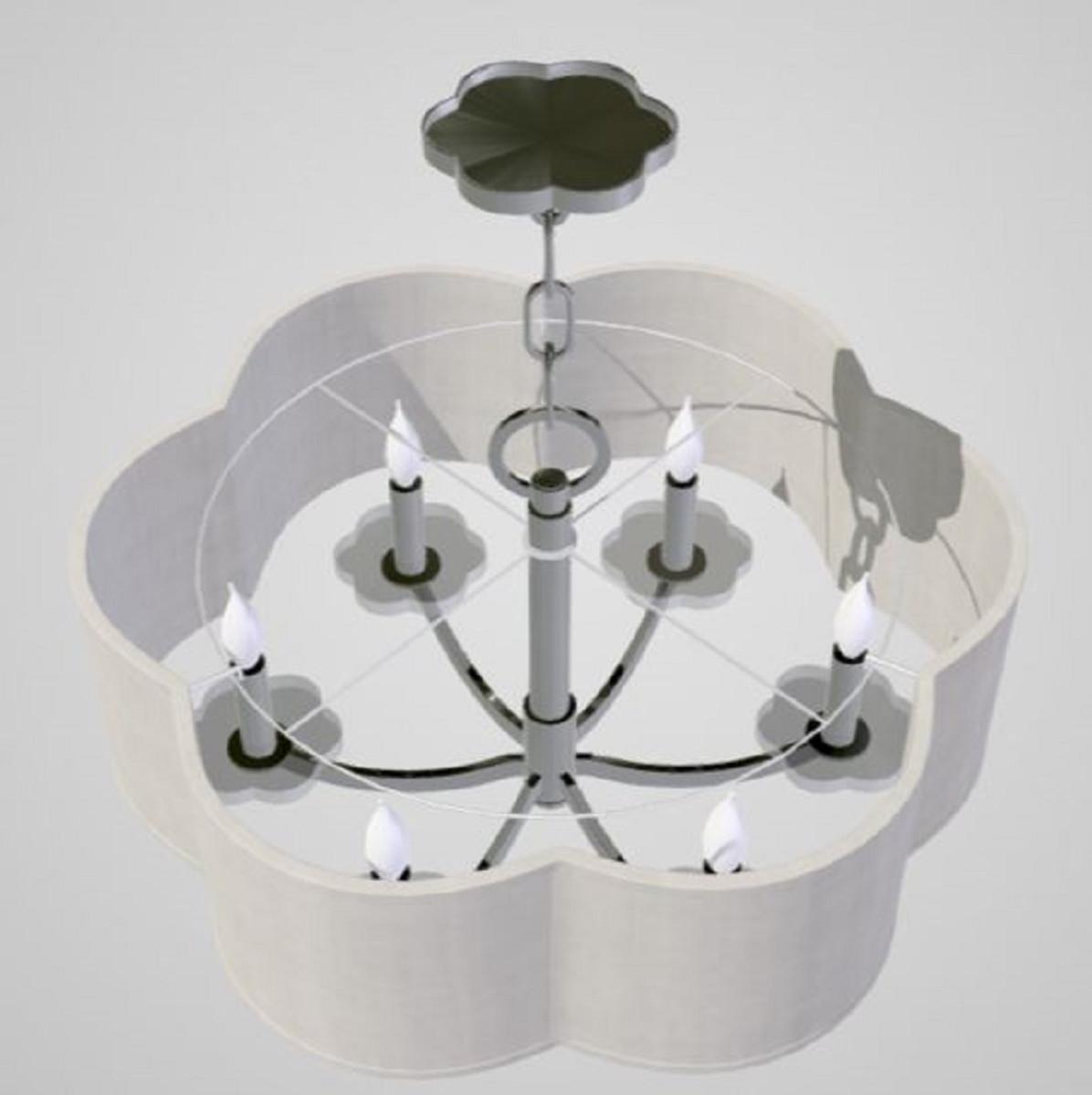 Casa Padrino Luxus Kronleuchter in Kleeblatt Form Silber / Cremefarben Ø 66 x H. 39,4 cm - Luxus Qualität 2