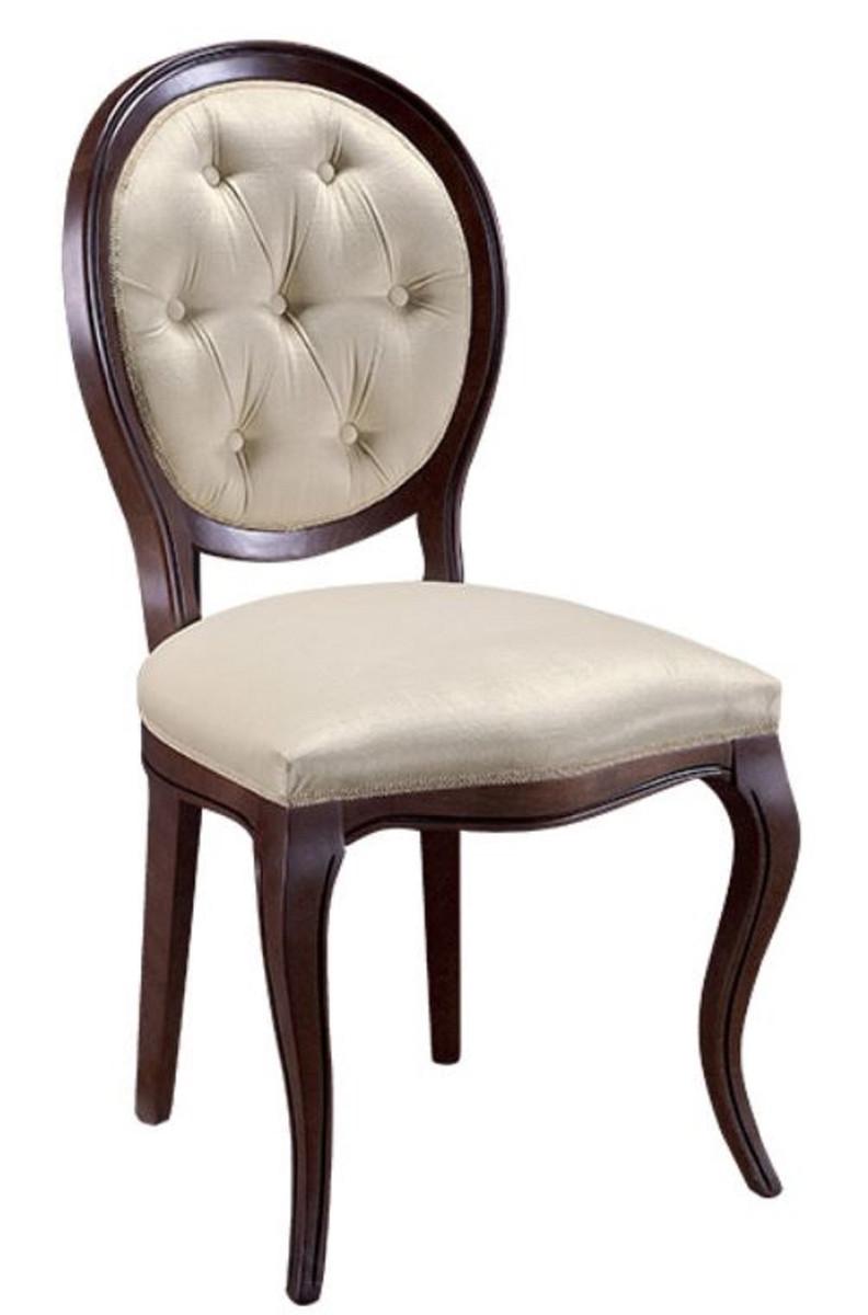 Casa Padrino Luxus Jugendstil Chesterfield Esszimmer Set Dunkelbraun / Cremefarben 51 x 44 x H. 99 cm - 6 Esszimmerstühle - Esszimmermöbel 2
