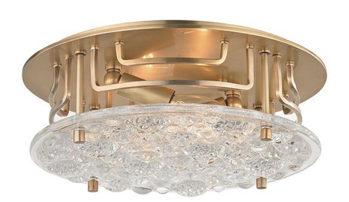 Casa Padrino Luxus Deckenleuchte Antik Messingfarben Ø 28,6 x H. 9,5 cm - Runde Deckenlampe mit handgefertigtem Glas - Luxus Qualität 1