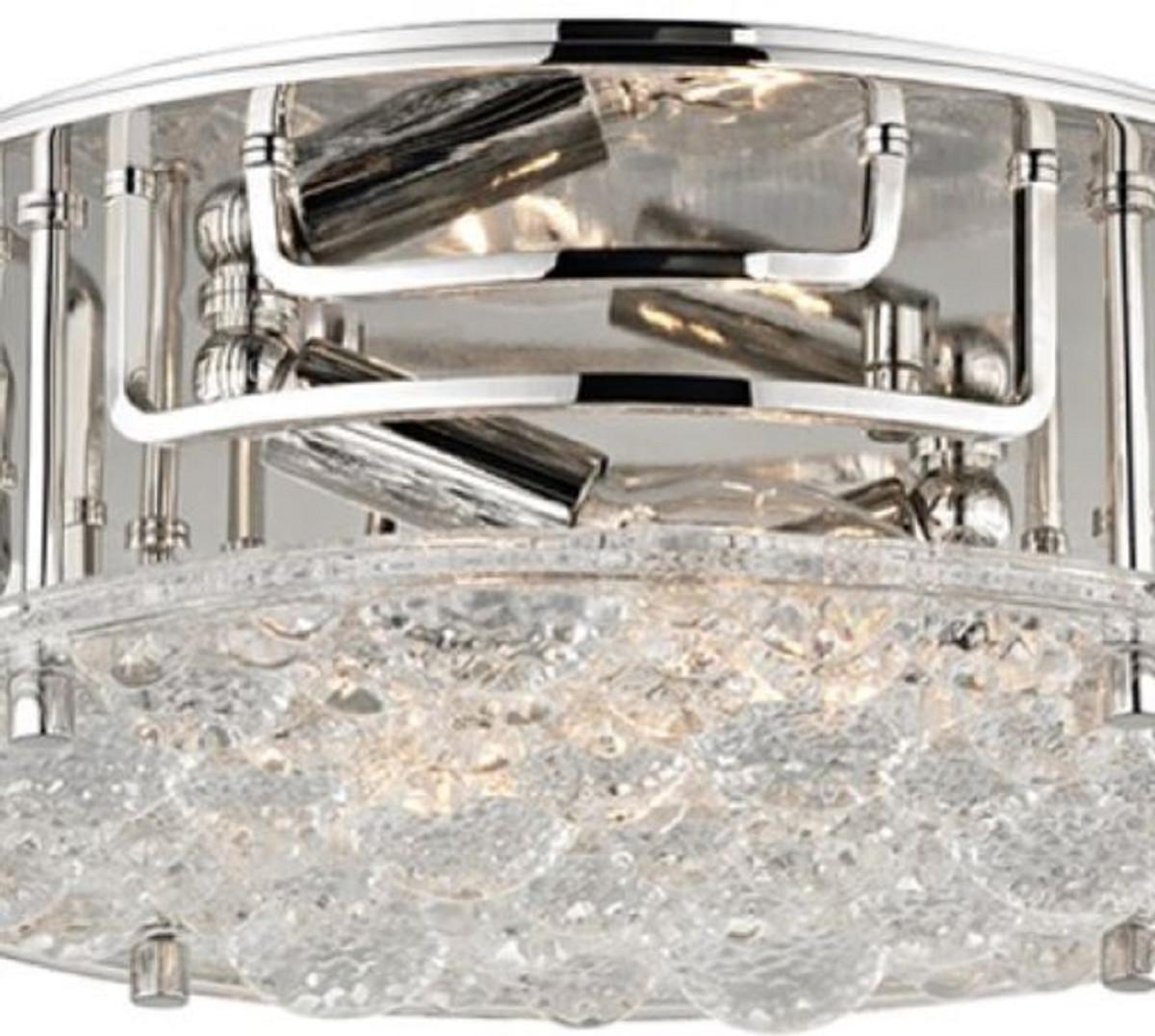 Casa Padrino Luxus Deckenleuchte Silber Ø 28,6 x H. 9,5 cm - Runde Deckenlampe mit handgefertigtem Glas - Luxus Qualität 2