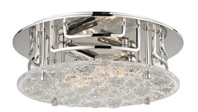 Casa Padrino Luxus Deckenleuchte Silber Ø 28,6 x H. 9,5 cm - Runde Deckenlampe mit handgefertigtem Glas - Luxus Qualität