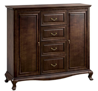 Casa Padrino Luxury Art Nouveau Cabinet Dark Brown 148.3 x 45.6 x H. 133.2 cm - Solid Wood Cabinet with 2 Doors and 4 Drawers
