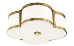 Casa Padrino Luxus Deckenleuchte Antik Messing / Weiß 42,6 x 42,6 x H. 14 cm - Deckenlampe in Kleeblatt Form - Luxus Qualität