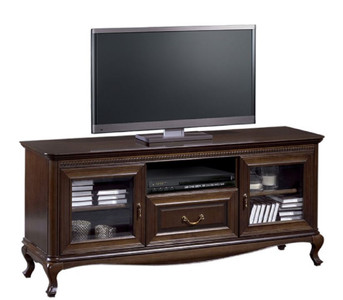 Casa Padrino luxury art nouveau sideboard dark brown 152 x 45.6 x H. 68.2 cm - TV Cabinet with 2 Glass Doors and Drawer - Living Room Furniture – Bild