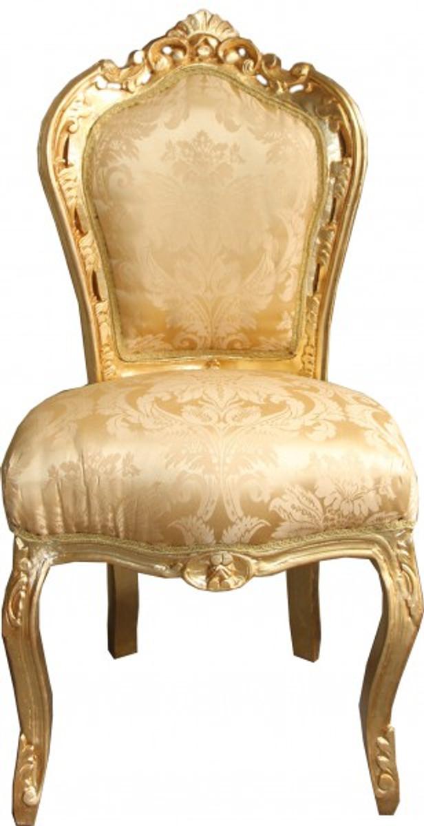 Casa Padrino Barock Esszimmer Stuhl Gold Blumen Muster