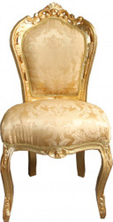 Casa Padrino Baroque dining room chair Gold Flower Pattern / Gold without armrests
