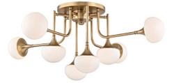 Casa Padrino Luxus LED Deckenleuchte Antik Messingfarben / Weiß Ø 92,7 x H. 36,8 cm - Deckenlampe mit kugelförmigen Glas Lampenschirmen - Luxus Qualität