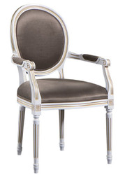 Casa Padrino Luxury Baroque Dining Chair with Armrests White / Gold / Gray 59 x 43.5 x H. 98 cm - Dining Room Furniture in Baroque Style