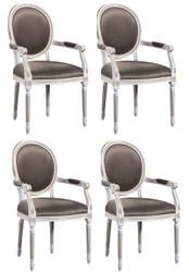 Casa Padrino Luxus Barock Esszimmer Set Weiß / Gold / Grau 59 x 43,5 x H. 98 cm - 4 Esszimmerstühle mit Armlehnen - Esszimmermöbel