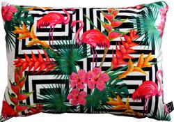 Casa Padrino Luxury Pillow Miami Flamingos & Flowers Multicolor 35 x 55 cm - Finest velvet - Decorative Living Cushion