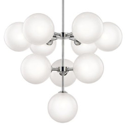 Casa Padrino Luxury LED Chandelier Silver Ø 75.6 x H. 63.5 cm - Chandelier with Spherical Lampshades - Luxury Quality