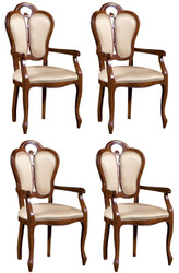 Casa Padrino Luxury Baroque Dining Set Brown / White / Beige 57 x 43 x H. 105 cm - 4 Dining Chairs with Armrests - Dining Room Furniture in Baroque Style