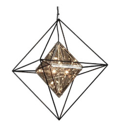 Casa Padrino Luxury LED Hanging Lamp Black 61 x 61 x H 85.7 cm - Designer Lamp with Handmade Wrought Iron Frame