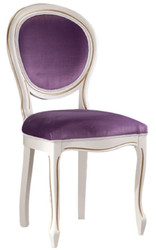 Casa Padrino Luxury Baroque Dining Chair White / Gold / Purple 47 x 42 x H. 98.5 cm - Baroque Dining Room Furniture