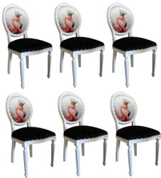 Casa Padrino Luxury Baroque Dining Room Set Flamingo with Crown White / Black / Multicolor 48 x 50 x H. 98 cm - 6 Handmade Dining Chairs with Bling Bling Rhinestones - Baroque Dining Room Furniture