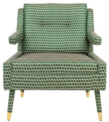 Casa Padrino luxury armchair green / gold 76 x 88 x H. 89 cm - Living Room Armchair Neoclassical Style - Designer Living Room Furniture