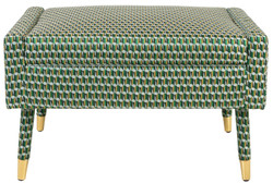 Casa Padrino Luxury Footstool Green / Gold 76 x 62 x H. 46 cm - Living Room Stool Neoclassical Style - Designer Living Room Furniture