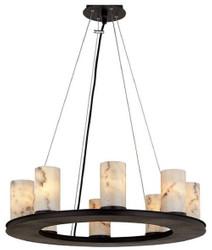 Casa Padrino Luxus Hängeleuchte Schwarz / Weiß Ø 63,5 x H. 19,1 cm - Runde Pendelleuchte mit Marmor Lampenschirmen