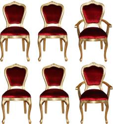 Casa Padrino Luxus Barock Esszimmer Set Bordeauxrot / Gold - 6 handgefertigte Esszimmerstühle - 2 Stühle mit Armlehnen und 4 Stühle ohne Armlehnen - Barock Esszimmermöbel