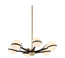 Casa Padrino Luxury LED Chandelier Bronze / Brass / White Ø 70.5 x H. 16.5 cm - Chandelier with Spherical Lampshades - Luxury Quality